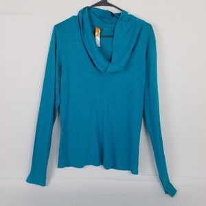 Lucy Blue Long Sleeve Cowl Neck T Shirt Top Size M